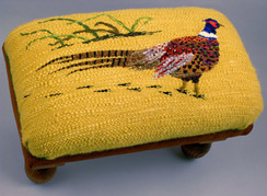 Pheasant Bench - Handwoven Tapestry stretched over upholstery foam with hand finished legs.